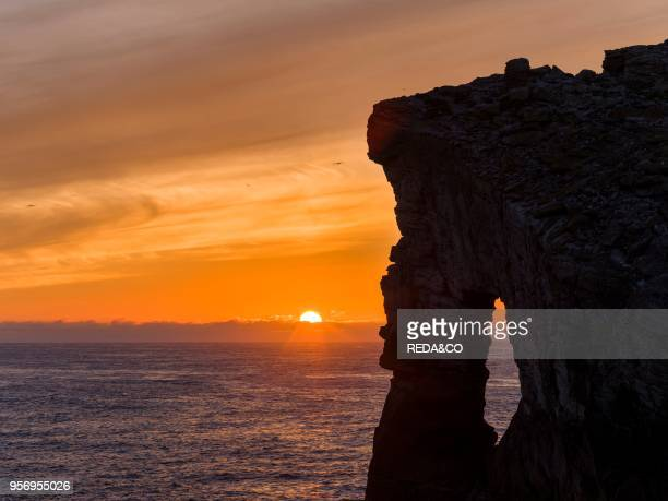 Gaada Stack a natural arch 45m high Foula Island Shetland Islands Archipelagos Scotland United Kingdom Europe
