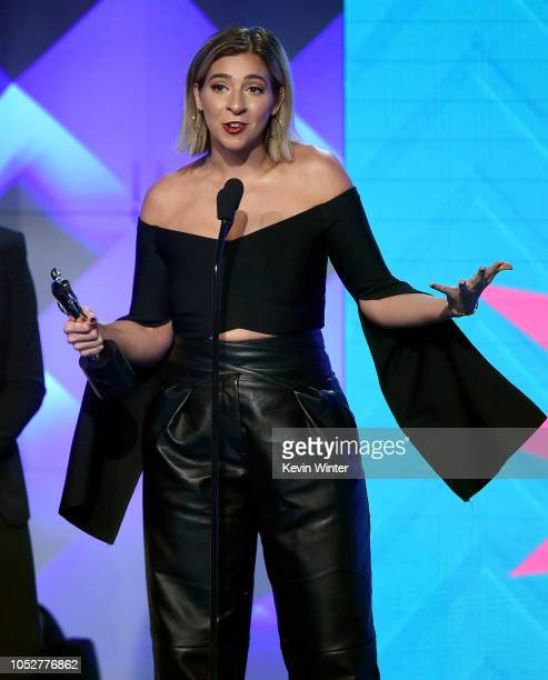 Gabbie Hanna accepts the Storyteller award onstage during The 8th Annual Streamy Awards at The Beverly Hilton Hotel on October 22 2018 in Beverly...