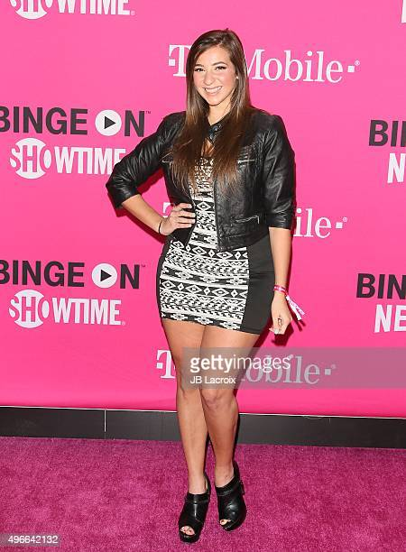 Gabbie Hanna attends the TMobile Uncarrier X launch party at the Shrine Auditorium on November 10 2015 in Los Angeles California