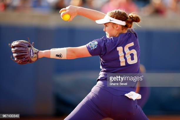 Gabbie Plain of the Washington Huskies pitches against the Florida State Seminoles during the Division I Women's Softball Championship held at USA...
