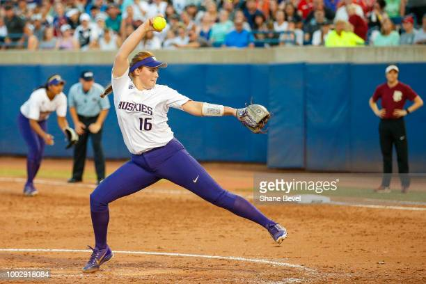 Gabbie Plain of Washington pitches during game two of the Division I Women's Softball Championship held at USA Softball Hall of Fame Stadium OGE...