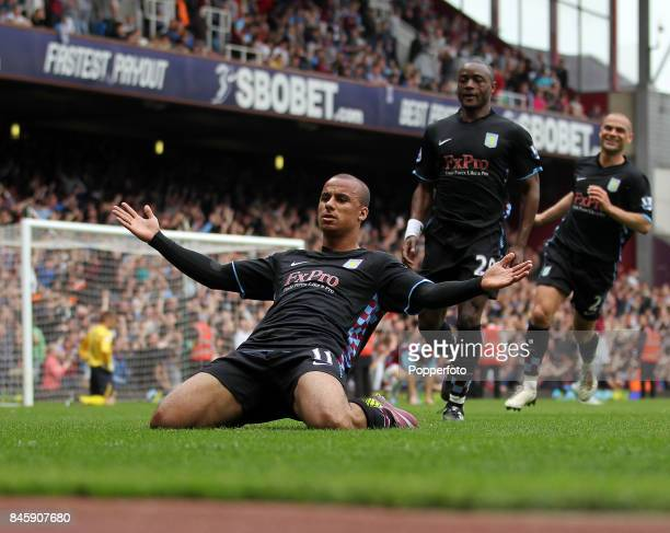 Gabby Agbonlahor of Aston Villa celebrates after scoring during the Barclays Premiership match between West Ham United and Aston Villa at Upton Park...