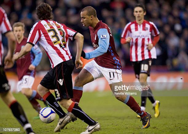 Gabby Agbonlahor of Aston Villa during the FA Cup Sponsored by EON 3rd round match between Sheffield United and Aston Villa at Bramall Lane on...