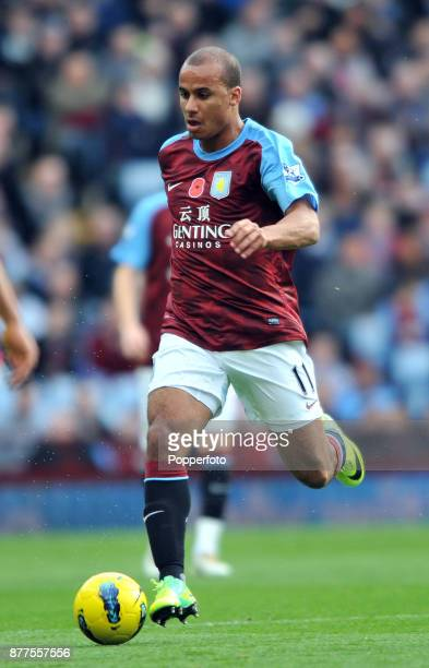Gabby Agbonlahor of Aston Villa in action during the Barclays Premier League match between Aston Villa and Norwich City at Villa Park on November 05...