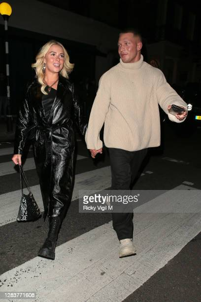 Gabby Allen and Brandon Myers seen on a night out at IT restaurant in Mayfair on November 03, 2020 in London, England.