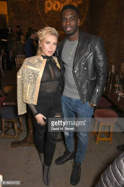 Gabby Allen and Marcel Somerville attend Centrepoint's 10th annual Ultimate Pub Quiz at The Village Underground on February 6 2018 in London England