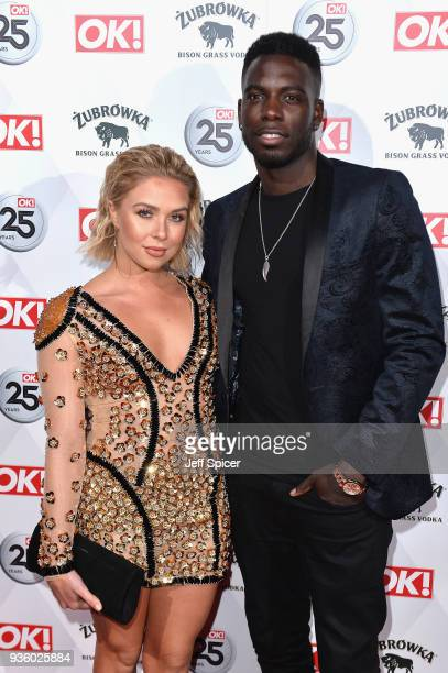 Gabby Allen and Marcel Somerville attend OK Magazine's 25th Anniversary Party at The View from The Shard on March 21 2018 in London England