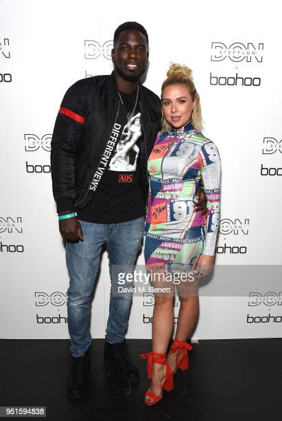 Gabby Allen and Marcel Somerville attend the Stefflon Don x Boohoo Launch Party at Libertine on April 26 2018 in London England