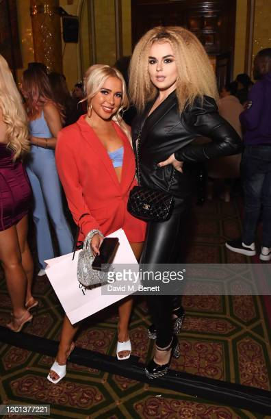 Gabby Allen and Tallia Storm attend the Ethical Designer Showcase featuring Oh Polly during London Fashion Week February 2020 at The Royal...