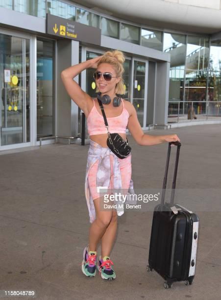 Gabby Allen arrives at Malaga airport ahead of boohoo boohooMAN event on July 27 2019 in Marbella Spain