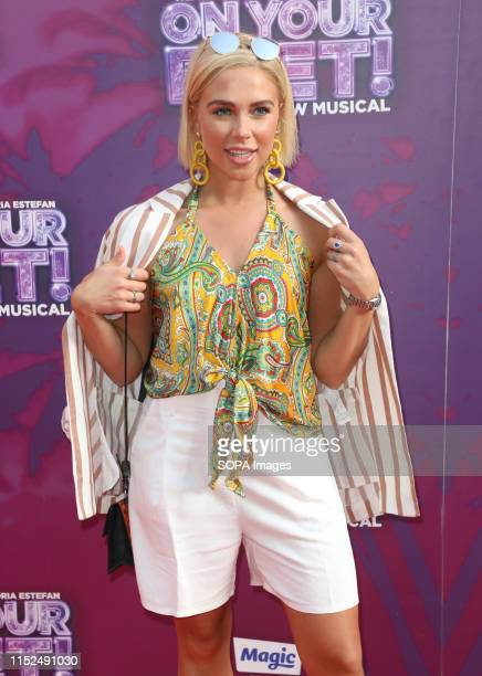 Gabby Allen arrives on the red carpet during the On Your Feet Musical Press Night at the London Coliseum St Martin's Lane