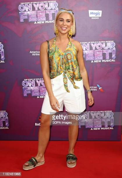 Gabby Allen arrives on the red carpet during the On Your Feet Press Night at the London Coliseum St Martin's Lane