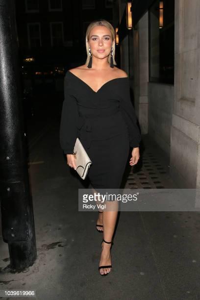 Gabby Allen attend an official dinner announcing Alexandra Cane as a new brand ambassador of BoohooMan on September 24 2018 in London England