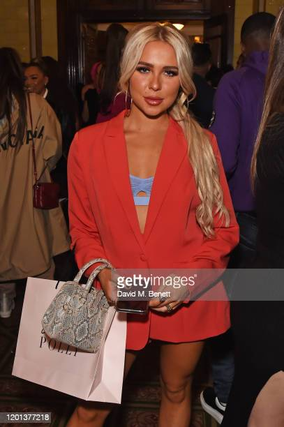 Gabby Allen attends the Ethical Designer Showcase featuring Oh Polly during London Fashion Week February 2020 at The Royal Horseguards on February 16...