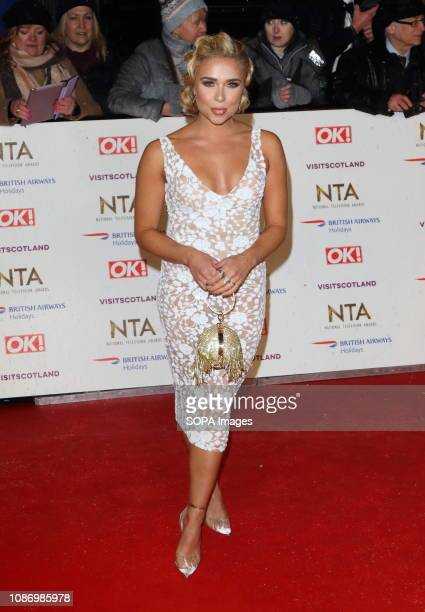 Gabby Allen seen on the red carpet during the National Television Awards at the O2 Peninsula Square in London