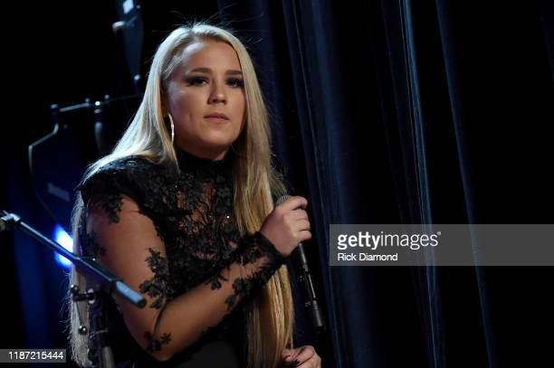 Gabby Barrett performs at the 2019 CMT Next Women Of Country Celebration at CMA Theater at the Country Music Hall of Fame and Museum on November 12...