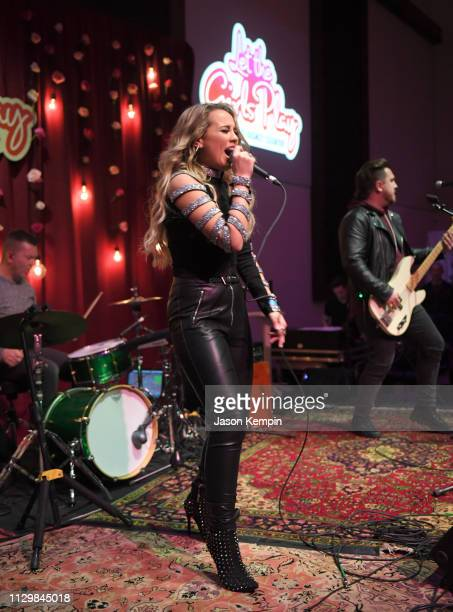 Gabby Barrett performs at the Radio Disney Country Let The Girls Play Pop Up Show at The Bell Tower on February 14 2019 in Nashville Tennessee