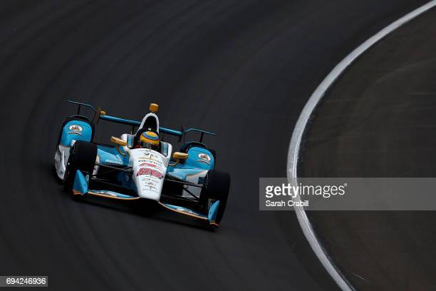 Gabby Chaves driver of the Harding Group Chevrolet practices for the Verizon IndyCar Series Rainguard Water Sealers 600 at Texas Motor Speedway on...