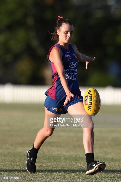 Gabby Collingwood kicks during a Brisbane Lions AFL training session at Leyshon Park on January 15 2018 in Brisbane Australia