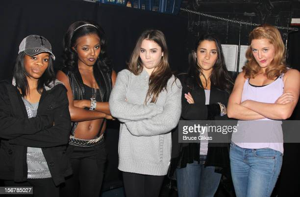 Gabby Douglas Adrienne Warren McKayla Maroney Aly Raisman and Taylor Louderman pose backstage at the hit musical 'Bring It On' on Broadway at The St...