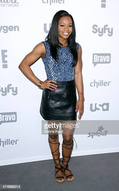 Gabby Douglas appears during the 2015 NBCUniversal Cable Entertainment Upfront at The Jacob K Javits Convention Center on May 14 2015 in New York City