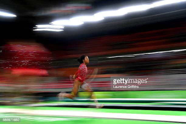 Gabby Douglas of the United States practices a vault during an artistic gymnastics training session on August 4 2016 at the Arena Olimpica do Rio in...