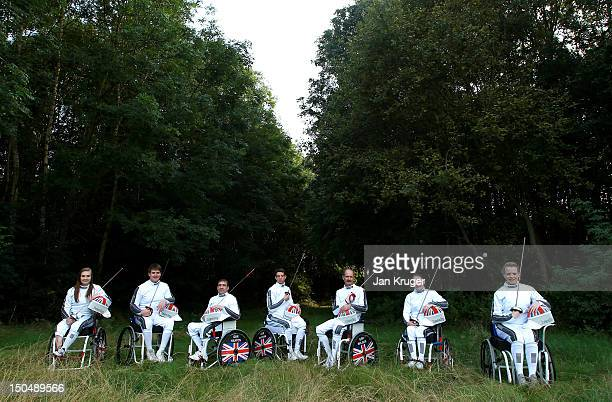 Gabby Down Tom HallButcher David Heaton Craig McCann Simon Wilson Justine Moore and Gemma Collis pose during the British Paralympic Fencing Team...