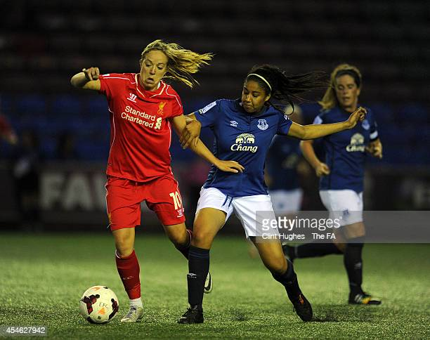 Gabby George of Everton Ladies FC and Gemma Davison of Liverpool Ladies FC battle for the ball during the FA WSL 1 match between Everton Ladies FC...