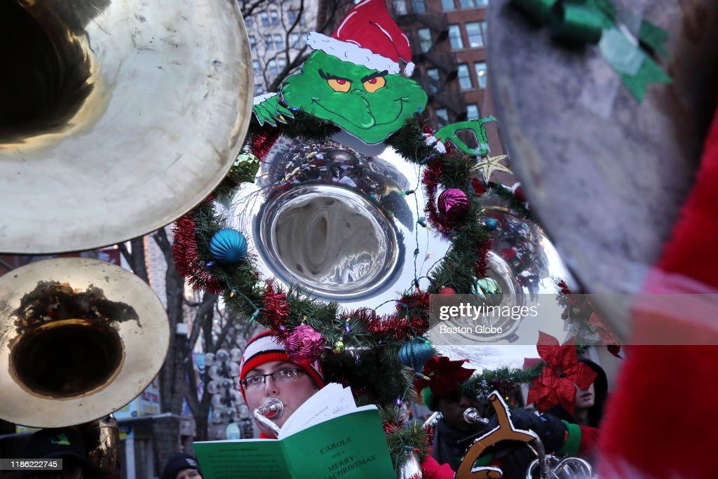 Merry Tuba Christmas 2020 Boston Gabby Grondalski plays along during the 34th annual Boston Tuba