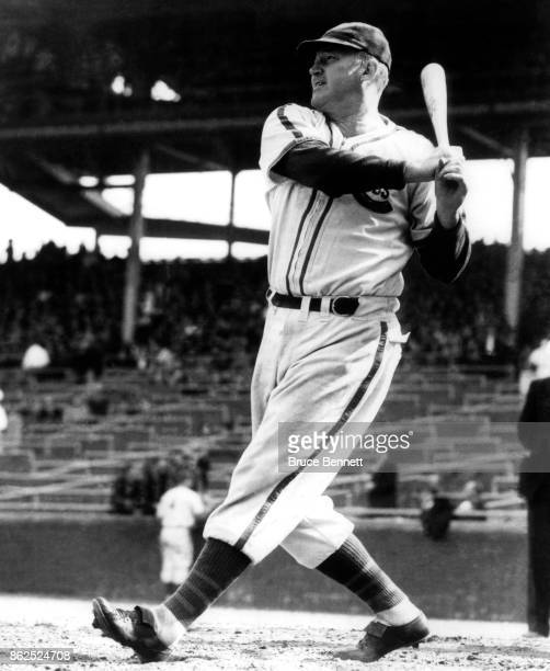 Gabby Hartnett of the Chicago Cubs takes batting practice before an MLB game circa 1938 at Wrigley Field in Chicago Illinois