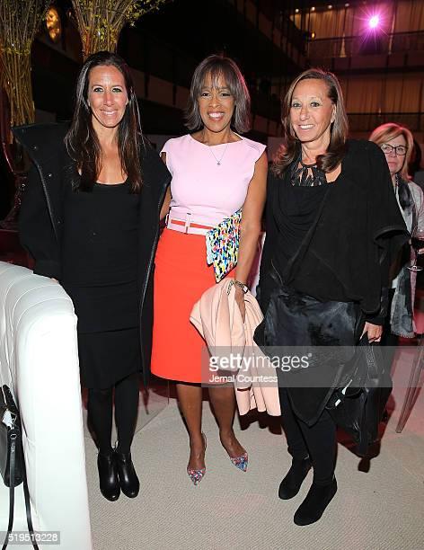 Gabby Karan media personality Gayle King and designer Donna Karan attend Tina Brown's 7th Annual Women In The World Summit VIP Dinner at David H Koch...