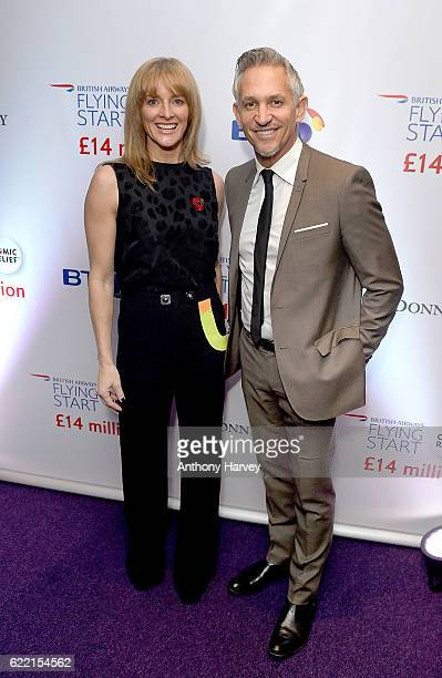 Gabby Logan and Gary Lineker attend the British Airways Flying Start event at BT Tower on November 10 2016 in London England The event celebrates...