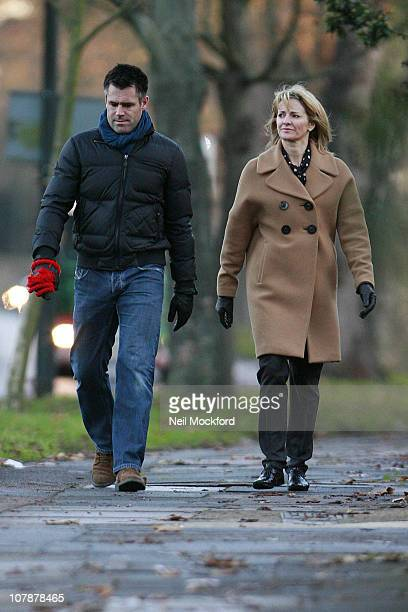 COVERAGE*** Gabby Logan and Kenny Logan sighted walking their dog on January 5 2011 in London England