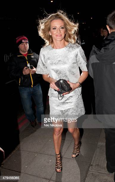 Gabby Logan is seen arriving at the Grosvenor Hotel Mayfair on March 18 2014 in London England