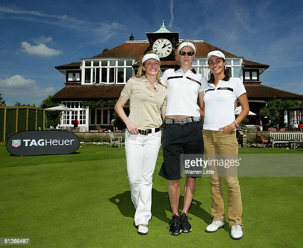 Gabby Logan Jodie Kidd and Ines Sastre pose during in the inaugural TAG Heuer LINK Challenge at Sunningdale Golf Club on September 6 2004 in...
