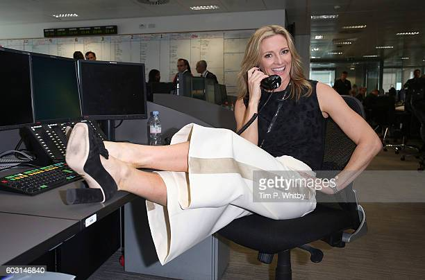 Gabby Logan making a trade at BGC Annual Global Charity Day at Canary Wharf on September 12 2016 in London England
