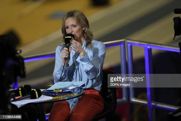 Gabby Logan seen presenting from the BBC Studio during the 3rd day of the European Athletics Indoor Championships in Glasgow Scotland