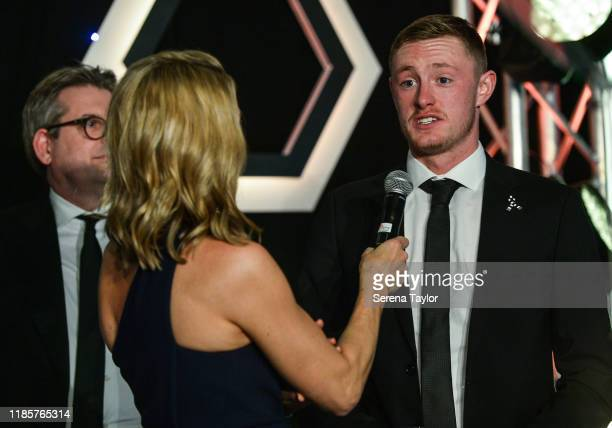 Gabby Logan speaks with Sean Longstaff during the Newcastle United Foundation's United as One annual dinner at St. James Park on November 05, 2019 in...