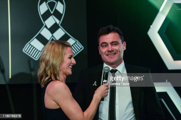 Gabby Logan speaks with Steve Harper during the Newcastle United Foundation's United as One annual dinner at St James Park on November 05 2019 in...