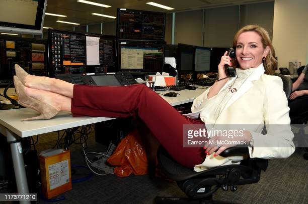 Gabby Logan takes a call during the Sunrise Charity Day on September 11 2019 in London England