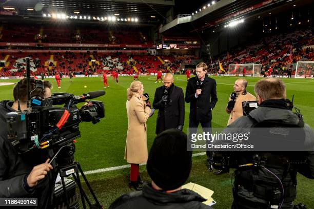 Gabby Logan, Thierry Henry, Peter Crouch and Roberto Martinez working for Amazon before the Premier League match between Liverpool FC and Everton FC...
