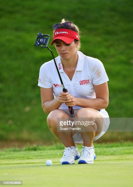 Gabby Lopez of Mexico lines up a putt during day one of the Evian Championship at Evian Resort Golf Club on September 13 2018 in EvianlesBains France