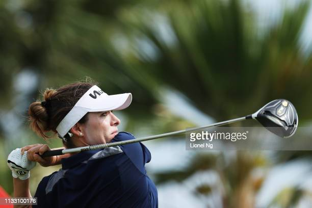 Gabby Lopez of Mexico plays her shot from the 12th tee during the third round of the HSBC Women's World Championship at Sentosa Golf Club on March 02...