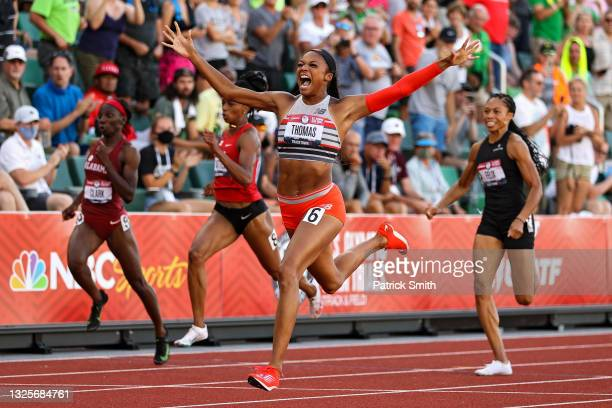Gabby Thomas celebrates after crossing the finish line to win the Women's 200 Meters Final on day nine of the 2020 U.S. Olympic Track & Field Team...