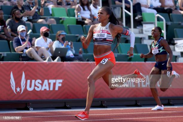 Gabby Thomas competes in the Women' 200 Meters Semi-Finals during day eight of the 2020 U.S. Olympic Track & Field Team Trials at Hayward Field on...