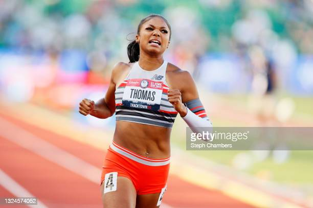 Gabby Thomas competes in the Women's 100 Meter Semi-finals on day 2 of the 2020 U.S. Olympic Track & Field Team Trials at Hayward Field on June 19,...