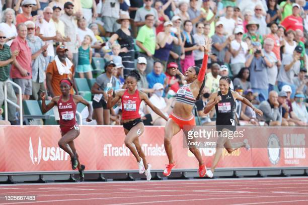Gabby Thomas crosses the finish line to win the Women's 200 Meters Final on day nine of the 2020 U.S. Olympic Track & Field Team Trials at Hayward...