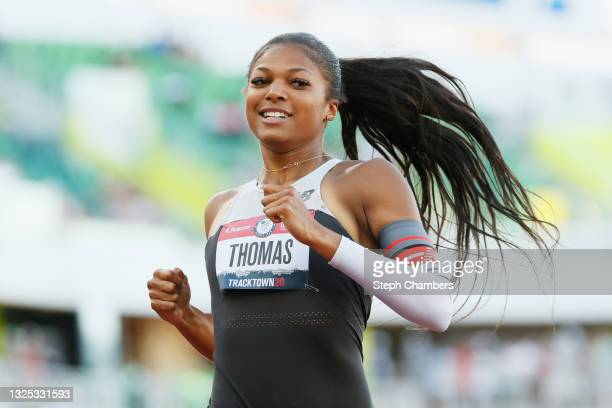 Gabby Thomas reacts after competing in the first round of the Women's 200 Meter Dash on day seven of the 2020 U.S. Olympic Track & Field Team Trials...