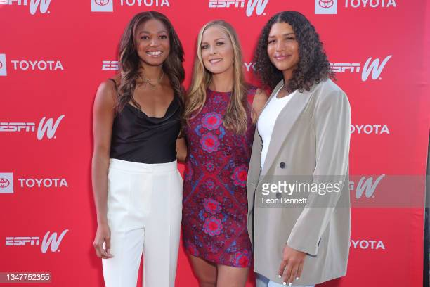 Gabby Thomas, Shelby Rogers and Maya Brady attend The Annual espnW: Women + Sports Summit Day 3 at The Lodge at Torrey Pines on October 20, 2021 in...