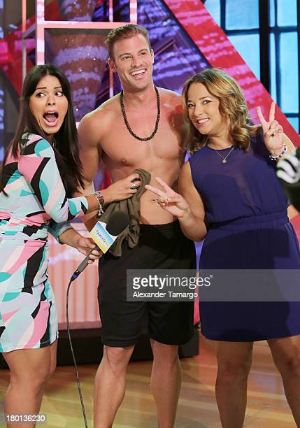 Gabby Villanueva and Adamari Lopez are seen on the set of Telemundo's Un Nuevo Dia at Telemundo Studio on September 9 2013 in Miami Florida